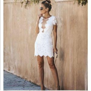 VICI-Beyond Words Lace Dress- White